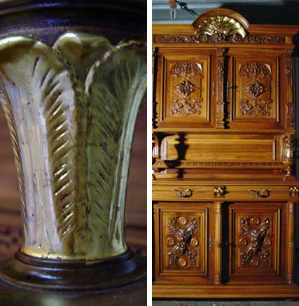 Antique Furniture, Gilding and Slivering, Walnut Cabinet 3
