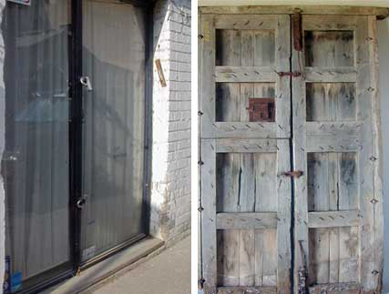 Stable doors replaced aluminum-frame and glass predessor