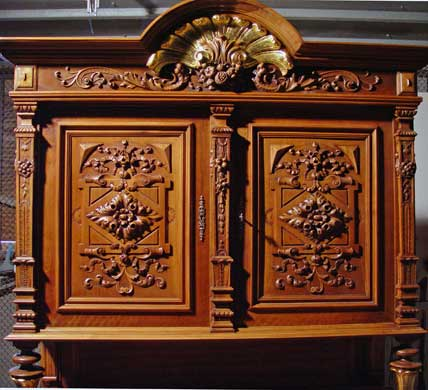Antique Furniture, Gilding and Slivering, Walnut Cabinet 1