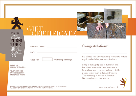 Gift Certificate - Restore-it-yourself Workshop